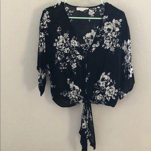 Tops - Women's Floral Tie Blouse